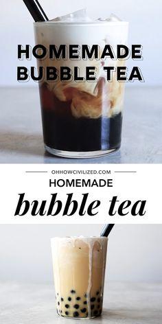 boba tea See how easy it is to make bubble tea at home!See how easy it is to make bubble tea at home! Cocktail Gin, Cocktails Champagne, Bubble Tea, Tea Recipes, Wine Recipes, Recipes Dinner, Cocktail Recipes, Boba Tea Recipe, How To Make Bubbles