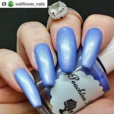 What a gorgeous swatch of one of our first polishes - Hydrangea 💙 #Repost @wallflower_nails ・・・ It's pretty rare for me to post a swatch, but this is such an easy stunner. I love pulling her out and enjoying her on beautiful days. Her name is Hydrangea from @peachtree_polish two easy coats over white. No topcoat. It's like a satin dress, so pretty. Tomorrow I'll do something on top. I hope you had a chance to view my pop-up video of my pretty roses.  Have a lovely evening dears. • • • •…