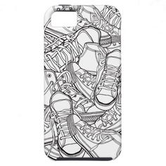 Black & white urban retro sneakers vector pattern iPhone 5 cases from Zazzle.com