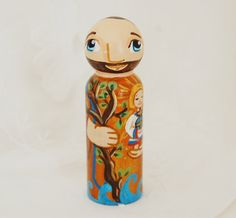 St Christopher Toy Catholic Wooden Saint Doll by SaintAnneStudio