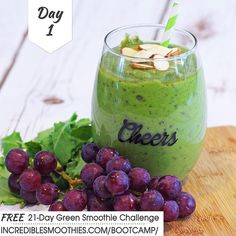 Happy New Year!! Whether you are new to green smoothies or a green smoothie pro this is a great time to take your green smoothie habit up a notch! Let's get blending!  Are you blending the banana grape smoothie with me or are you making your own?  21-DAY GREEN SMOOTHIE BOOT CAMP - DAY 1 CLEANSING BANANA GRAPE SMOOTHIE  1/2 cup red grapes 1 frozen banana. peeled 1/4 avocado, peeled and pitted 1/2 cucumber, chopped 1/2 scoop of plant based protein powder 2 cups kale, stems removed  4 ounces…