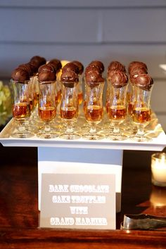Dark chocolate truffles + Grand Marnier shots.