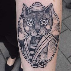 Big vintage style black ink forearm tattoo of sailor cat portrait More