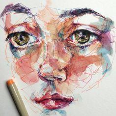 Noel Badges Pugh Abstract Portrait, Watercolor Portraits, Watercolor Art Face, Scribble Art, Ap Studio Art, High Art, Pen Art, Colorful Drawings, Art Drawings Sketches