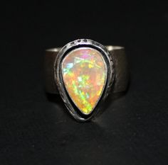 colorful Ethiopian Welo opal ring