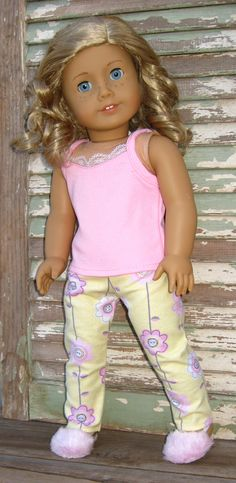 """Silly Monkey - Pink and Yellow Flower Pajamas, $13.99 (http://www.silly-monkey.com/products/pink-and-yellow-flower-pajamas.html) Trendy 18"""" American Girl Doll Clothes Outfit"""