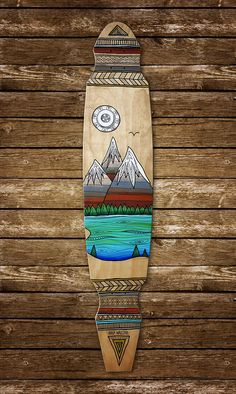 Mountains & Lake longboard art by Maia Walczak