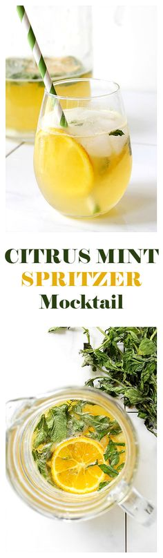 Try a refreshing Citrus Mint Spritzer Mocktail made with mint syrup, fresh orange juice, lemon juice, and lime soda! Recipe on diethood.com