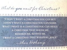 I want a Christmas that whispers Jesus