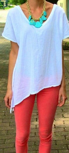 White Shirt Coral Pants and a statement bulky necklace. I hate the fit of this shirt, but I like the color combo