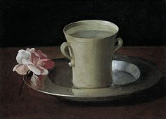 """Francisco de Zurbarán, """"A Cup of Water and a Rose"""", about 1630"""
