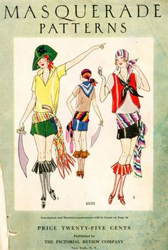 Magazine of mid-1920s with masquerade costume patterns of flapper-era fancy dress. A tad risqué considering this was only five or so years after women got the right to vote in the US.