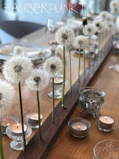 Table decoration with preserved blowball, spring, dandelion, blowball … – DIY Home Decor Coffee Desk, Decoration Table, Flower Decoration, Own Home, Console Table, Preserves, Home Furnishings, Home Furniture, Dandelion