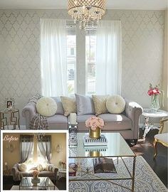 """I wanted more of a semi modern contemporary feel in here, so I stenciled the wall with a Metallic Silver paint with the Marrakech Trellis Stencil."" ~Angelika C.  Find the stencil here: http://www.cuttingedgestencils.com/moroccan-stencil-marrakech.html"
