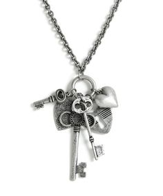Key Cluster Charm Necklace - Antique Silver