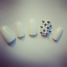 Rhinestone Studded Spiked 3D Nail Art Tips by ChicNailz on Etsy,
