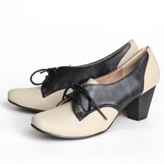 Love these!!!  Chelsea Crew Susan Oxford Heels In Black And Beige 59.99 at shopruche.com. Perfected with vintage charm, these black and beige leatherette oxfords by Chelsea Crew are finished with a stacked heel and turned up toe., ,  leather blend upper,  Synthetic sole,  Padded footbed,  Heel: 2.5""