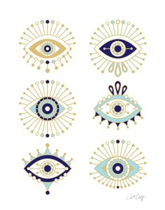 Evil Eye Collection on White Art Print. Cat Coquillette.