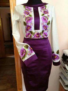 beautiful embroidered peasant blouse & Purple skirt!