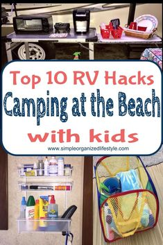 Top 10 RV Hacks for Camping at the Beach with Kids How do you deal with the sand and sun when camping at the beach with kids? Top RV hacks to manage the sand, sun and more! Check out the camper command center and the storage solutions! Camping Hacks With Kids, Beach Camping Tips, Family Camping, Camping Ideas, Tent Camping, Camping Tricks, Camping Stuff, Glamping, Campsite