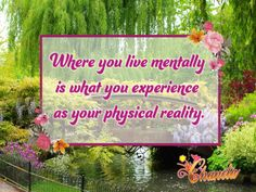 Where you live mentally is what you experience as your physical reality.