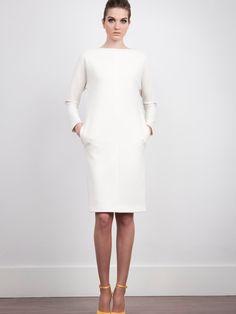 The 2nd Skin Co. White neoprene dress. Long sleeve. #Fashion #Women #Dress