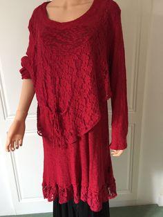 SARAH SANTOS 100% COTTON  Lacey Asymmetrical Red Tunic