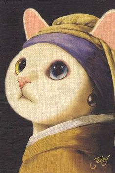 Art Parody: Cat with a Pearl Earring-- by Jetoy Choo Choo More Tap the link for an awesome selection cat and kitten products for your feline companion! I Love Cats, Crazy Cats, Cute Cats, Photo Chat, Here Kitty Kitty, Cat Art, Art History, Cats And Kittens, Siamese Cats