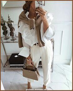 Classy Outfits – Page 2726078141 – Lady Dress Designs White Outfits, Classy Outfits, Casual Outfits, Summer Outfits, Office Fashion, Work Fashion, Fashion Looks, Fashion Fashion, Retro Fashion
