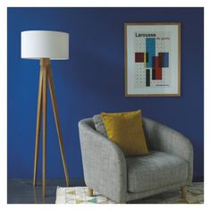 Blue walls, grey armchair, tall lamp, and wall art - Habitat UK Big Living Rooms, Living Room Lounge, Mid Century Modern Living Room, Wooden Tripod Floor Lamp, Tripod Lamp, Grey Armchair, Modern Armchair, Floor Lamp Base, Tall Lamps