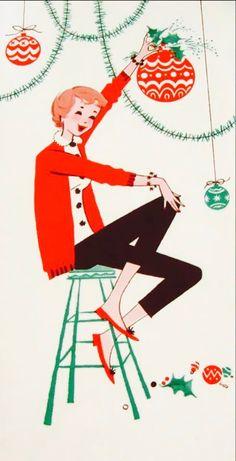 60's Christmas Card. Teenage Christmas. Vintage Christmas. Retro Christmas.