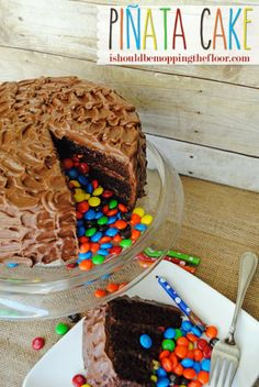 The cake that keeps on giving...a Pinata Cake filled with delicious Milk Chocolate M&Ms and fabulousness.