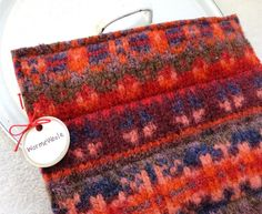 Wool Pot Holders / Hot Pads RED ORANGE & PURPLE  Recycled Hotpads Potholders Eco Kitchen by WormeWoole