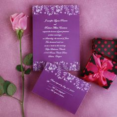 Romantic purple leaves and butterfly wedding invites EWI180 as low as $0.94