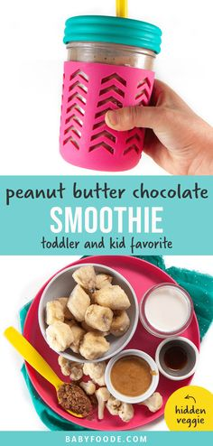 If you have a picky one at home who refuses to eat their vegetables, this Chocolate Peanut Butter Smoothie is a great way to sneak them in! This kid-approved smoothie is great for a quick and easy breakfast or snack and is nutrient-dense. Just don't tell them there's any cauliflower in it.. they'll never know! #hiddenveggie #toddler #kid #healthy #smoothie Toddler Smoothie Recipes, Baby Smoothies, Toddler Smoothies, Veggie Smoothies, Veggie Snacks, Smoothies For Kids, Healthy Breakfast Smoothies, Baby Food Recipes, Toddler Recipes