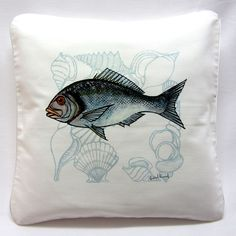 Çupra Yastık / Marin Dekorasyon, Ev Dekorasyon, Tekne Dekorasyon  /  Fish Pillow, Fish Cushion, Bream Pillow, Marin decorations, home decorations, yacht decorations  http://www.nyn-yucelerkal.com/asp/group/8/Balik-Desenler-Deniz-Hayvanlari