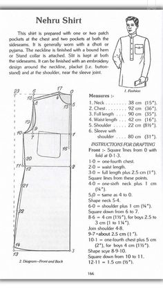 Finely sewn with detailed Embriodery woerks for one or both. Pattern Drafting Tutorials, Mens Sewing Patterns, Clothing Patterns, Tutorial Sewing, Mens Shirt Pattern, Pants Pattern, Jumpsuit Pattern, Sewing Sleeves, Kurta Patterns