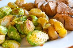 Pork Tenderloin - (marinated in olive oil, soy sauce, red wine vinegar, lemon juice, Worcestershire sauce, parsley, dry mustard, pepper and garlic)  w. baby potatoes and brussel sprouts