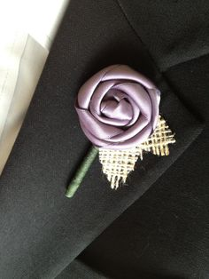 Satin Ribbon Boutonniere with Burlap Leaves by Loverlees on Etsy, $15.00