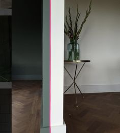 half-painted walls don't have to be horizontal, image via Interior Plants, Home Interior Design, Interior Styling, Half Painted Walls, Two Tone Walls, Mad About The House, Colour Schemes, Color Combos, Wall Colors