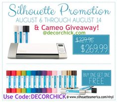 Silhouette Cameo Giveaway @Decorchick  Need some chalkboard vinyl for my kitchen!