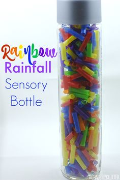 Rainbow Rainfall Sensory Bottle - This discovery bottle is cheerful to look at and fun to listen to as clear beads cascade through it. Sensory Tubs, Sensory Boxes, Baby Sensory, Sensory Activities, Sensory Play, Infant Activities, Activities For Kids, Rainforest Activities, Diy Sensory Toys