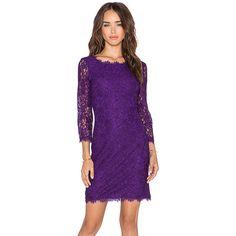 Diane von Furstenberg Zarita Dress Dresses (€310) ❤ liked on Polyvore featuring dresses, zipper back dress, diane von furstenberg, purple dress, viscose dress and diane von furstenberg dresses