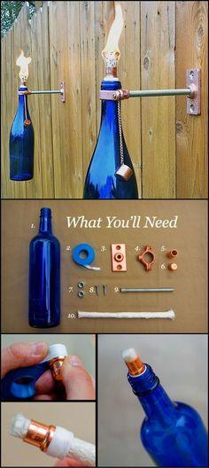 Botellas recicladas para decorar la terraza o jardín