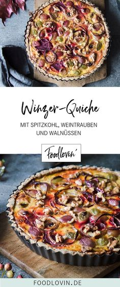 An autumnal quiche filled with pointed cabbage, wine truffles, beetroot and walnuts. An autumnal quiche filled with pointed cabbage, wine truffles, beetroot and walnuts. Crock Pot Recipes, Veggie Recipes, Fall Recipes, Seafood Recipes, Dinner Recipes, Snacks Recipes, Fall Dinner, Quiches, Beetroot