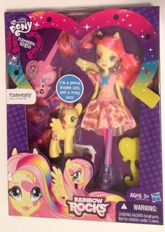 My Little Pony Equestria Girls Rainbow Rocks Fluttershy Doll Pony Set with her guitar #Hasbro