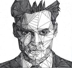 Retratos super detalhados feitos à mão usando somente triângulos