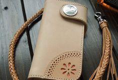 Handmade biker wallet chain beige leather bifold biker wallet Long wal | EverHandmade
