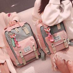 Tips: *Please double check above size Cute kawaii canvas backpack Fabric Material:Canvas Style : ; Mochila Kpop, Mochila Kanken, Cute Backpacks, School Backpacks, Popular Backpacks, Canvas Backpacks, Leather Backpacks, Leather Bags, Rosa Panther