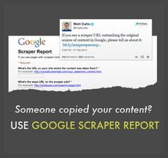 Someone copied your content that OUTRANKS you? Report now @ https://docs.google.com/forms/d/1Pw1KVOVRyr4a7ezj_6SHghnX1Y6bp1SOVmy60QjkF0Y/viewform
